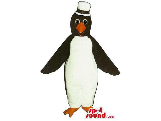 Cute Penguin Animal Plush Canadian SpotSound Mascot Dressed In A White Hat