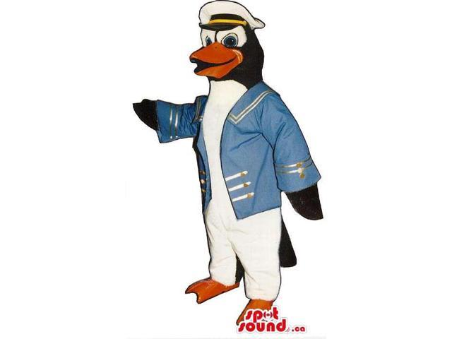 Cute Penguin Animal Plush Canadian SpotSound Mascot Dressed In Captain Clothes