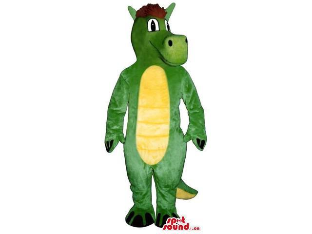 Green Dragon Plush Canadian SpotSound Mascot With Red Hair And A Yellow Belly