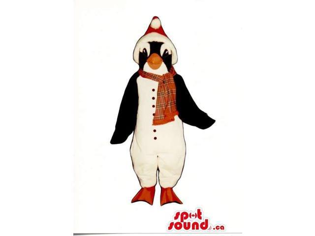Cute Penguin Animal Plush Canadian SpotSound Mascot Dressed In Red Winter Clothes