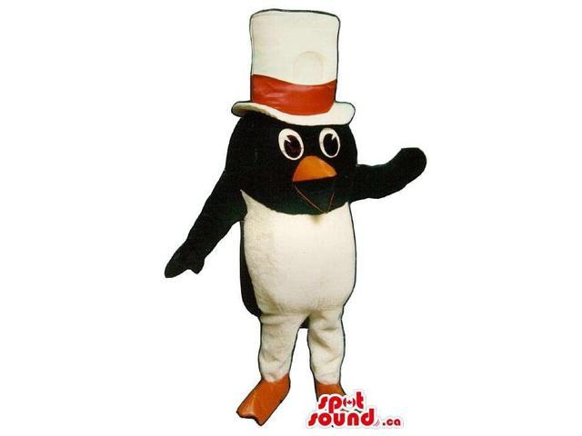 Small Penguin Animal Plush Canadian SpotSound Mascot Dressed In Red Bow Tie Top Hat