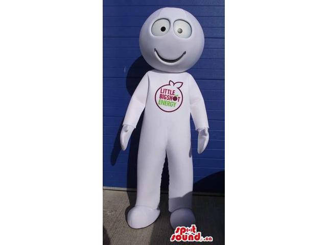 Peculiar Round Headed White Creature Canadian SpotSound Mascot With A Logo
