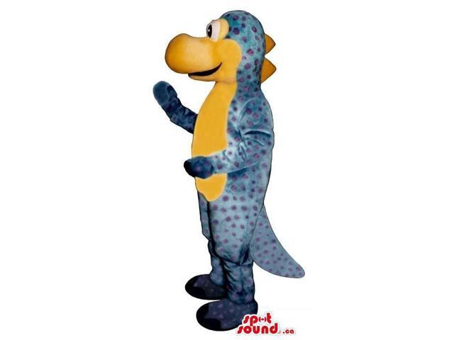 Blue Dragon Plush Canadian SpotSound Mascot With Dots And A Yellow Belly