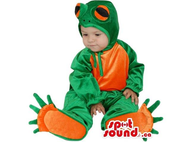 Cute Green And Orange Frog Toddler Size Shinny Costume