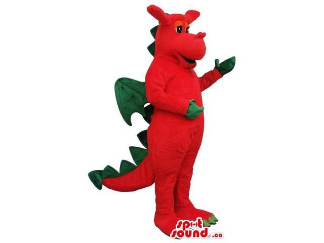 Red Dragon Plush Canadian SpotSound Mascot With Green Wings And Spikes