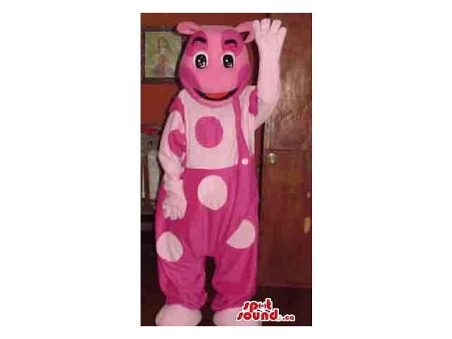 Fairy-Tale Pink Bear Plush Canadian SpotSound Mascot In Overalls Full Of Large Dots