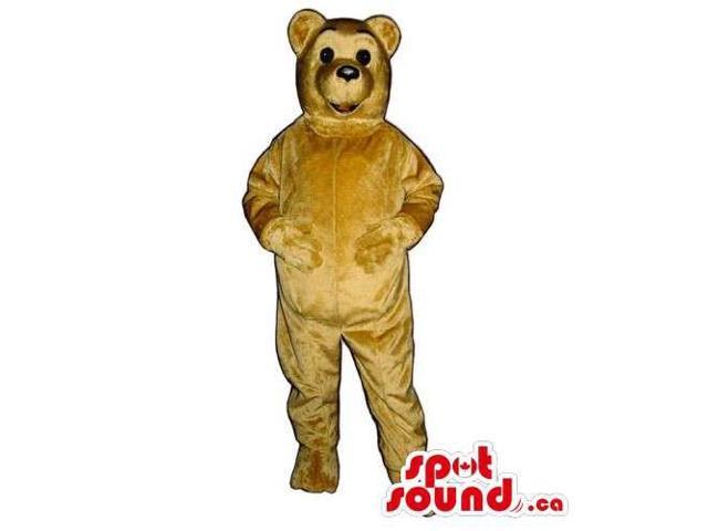 Customised Light Brown Bear Canadian SpotSound Mascot With Small Black Eyes