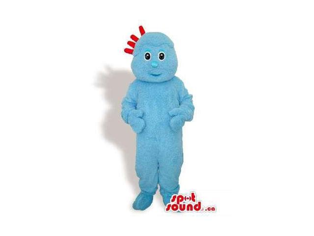 Customised All Blue Plush Canadian SpotSound Mascot With Four Red Hairs