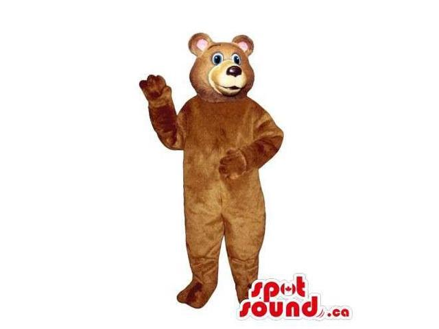 Customised Light Brown Bear Canadian SpotSound Mascot With Blue Eyes And Pink Ears
