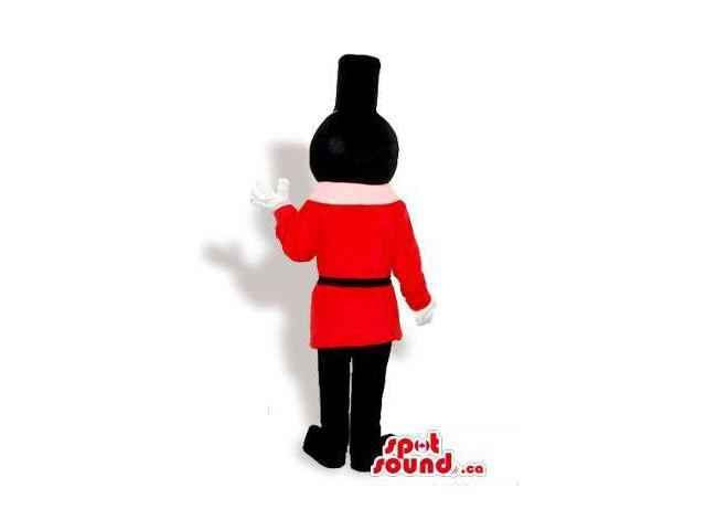 Children'S Toy Soldier Canadian SpotSound Mascot With A Round Pink Head