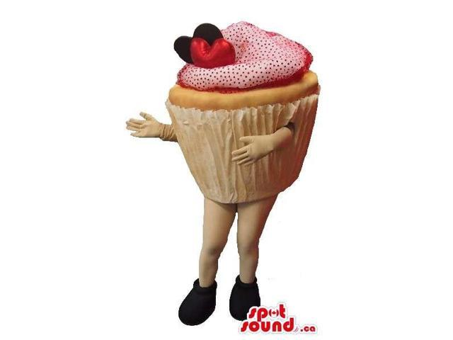 Real-Looking Sweet Cupcake Or Muffin Large Canadian SpotSound Mascot With No Face