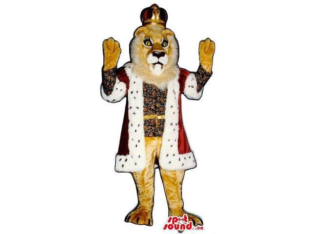 Brown Gallant Lion Plush Canadian SpotSound Mascot Dressed In King Clothes