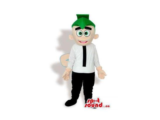 Happy Boy Canadian SpotSound Mascot With Wings Dressed In A Green Hat And A Black Tie