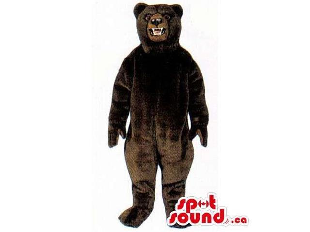 Wild Dark Brown Bear Forest Canadian SpotSound Mascot With Sharp Teeth