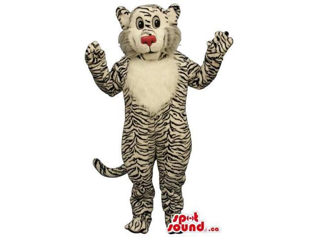 Tiger Plush Canadian SpotSound Mascot With A Red Nose And White Belly