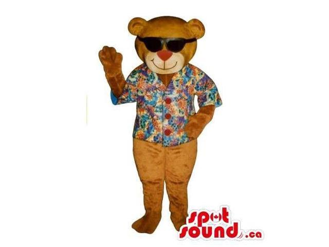 Customised Brown Teddy Bear Canadian SpotSound Mascot Dressed In Summer Gear