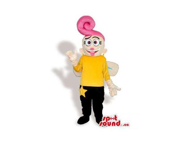 Girl Canadian SpotSound Mascot With Wings, An Awesome Pink Hairdo And A Star