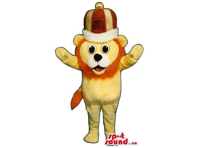 Yellow Small Lion Plush Canadian SpotSound Mascot Dressed In A King'S Crown