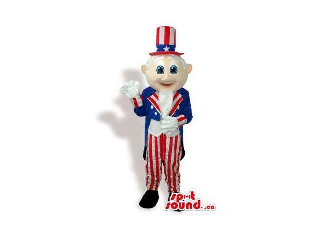 Uncle Sam Plush Canadian SpotSound Mascot Dressed In American Flag Clothes
