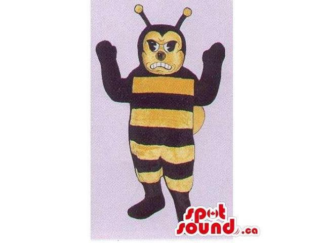 Customised Bee Insect Canadian SpotSound Mascot With Stripes And Angry Face