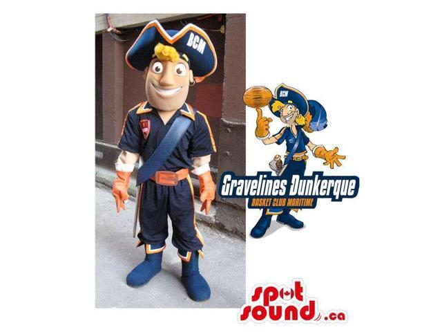 Human Character Canadian SpotSound Mascot Dressed As A Pirate With A Team Logo