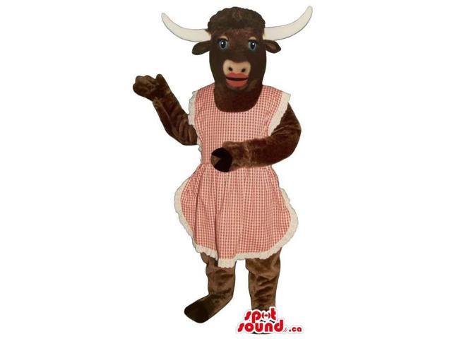 Brown Cow Plush Canadian SpotSound Mascot With Red Lips Dressed In A Red Apron