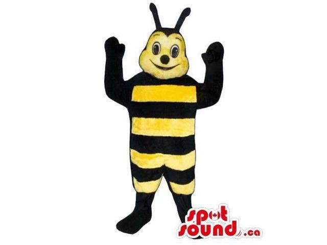 Customised Bee Insect Canadian SpotSound Mascot With Stripes And Happy Face