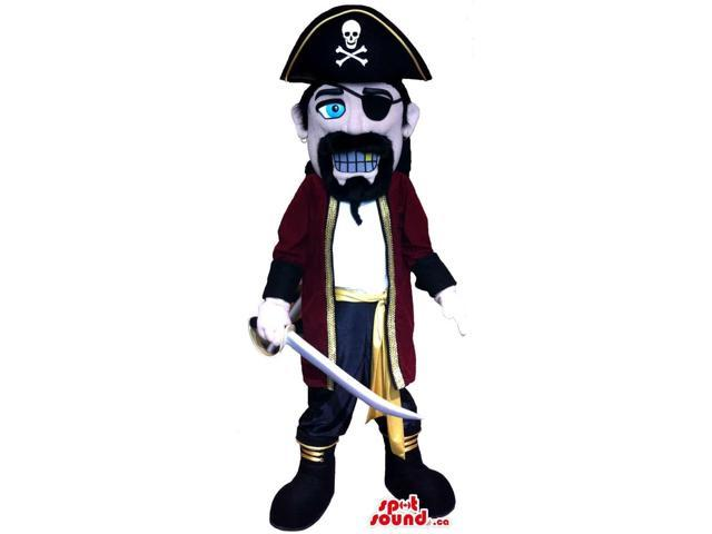 Pirate Character Canadian SpotSound Mascot With A Skull Hat And A Golden Tooth