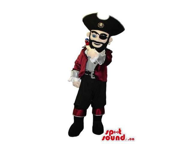 Pirate Character Canadian SpotSound Mascot In A Hat With A Logo And A Parrot