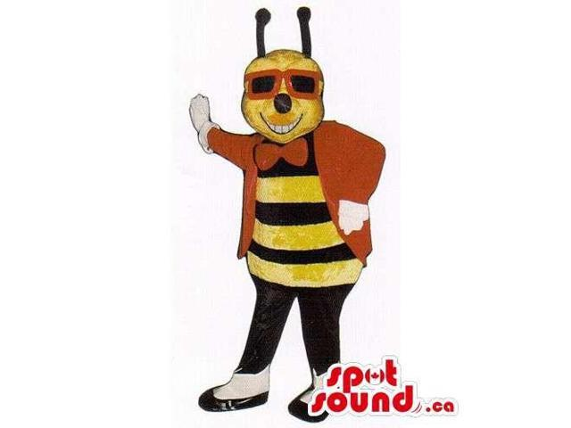 Customised Bee Insect Canadian SpotSound Mascot Dressed In Sunglasses And A Bow Tie