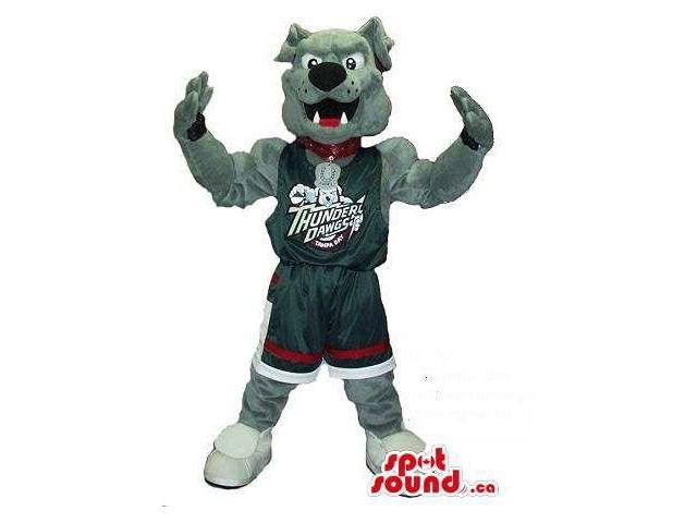 Grey Bulldog Plush Canadian SpotSound Mascot In Basketball Team Gear With Text