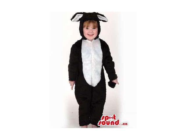 White And Black Rabbit Young Ones Size Plush Costume