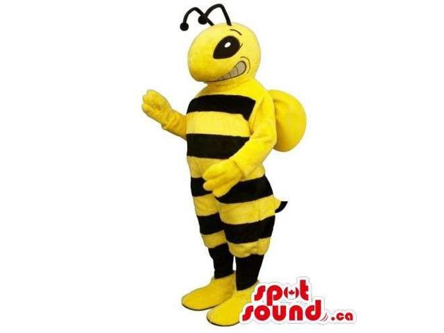 Customised Bee Insect Canadian SpotSound Mascot With Stripes And Peculiar Smile