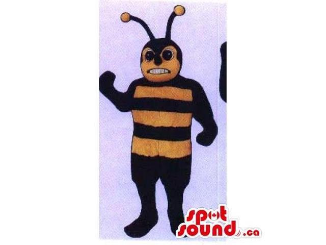 Bee Insect Canadian SpotSound Mascot With Angry Face And Long Antennae