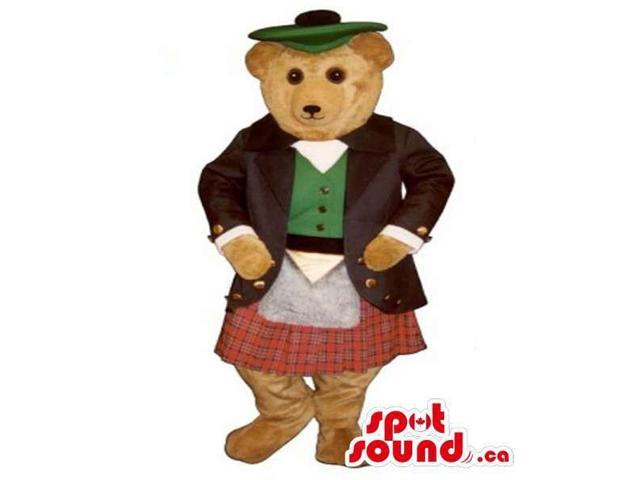 Cute Teddy Bear Plush Canadian SpotSound Mascot Dressed In Scottish Clothes