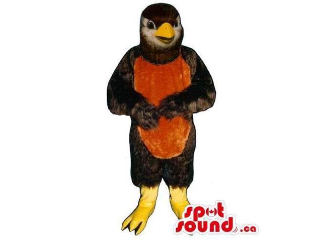 Black Bird Canadian SpotSound Mascot With A Red Belly And Yellow Legs