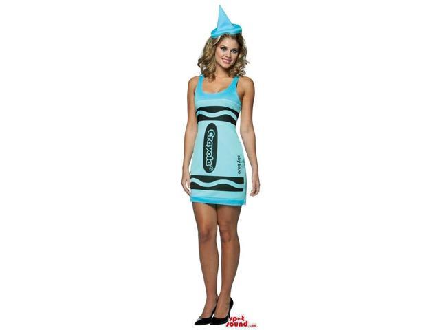Sexy Blue Crayola Crayon Adult Size Girl'S Costume