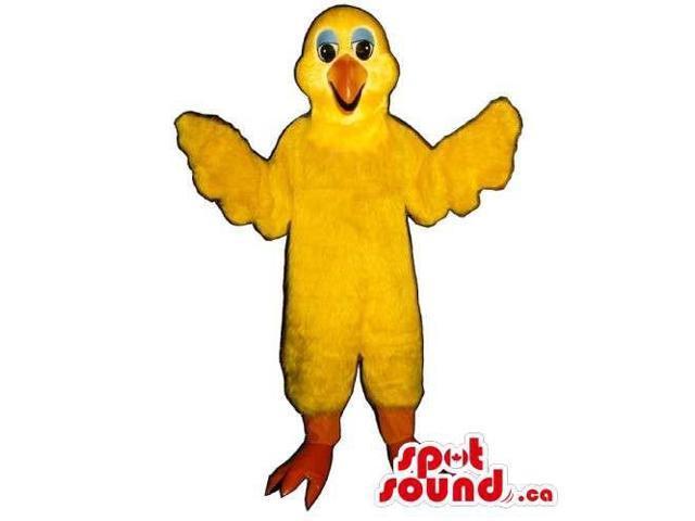 Yellow Bird Canadian SpotSound Mascot With Orange Legs And Beak With Blue Eyelids