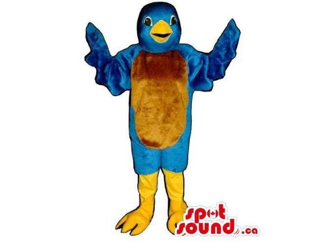 Blue Bird Canadian SpotSound Mascot With Brown Belly And Yellow Legs And Beak
