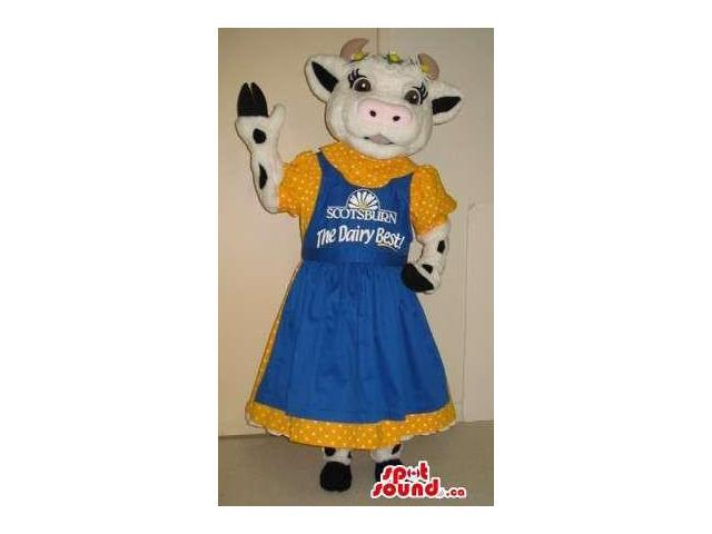 White Lady Cow Plush Canadian SpotSound Mascot Dressed In Farm Dress With Logo And Text