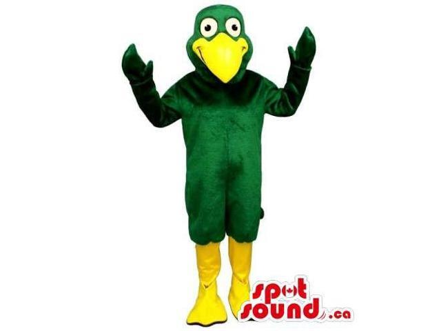 Green Bird Canadian SpotSound Mascot With A Huge Yellow Beak And Legs