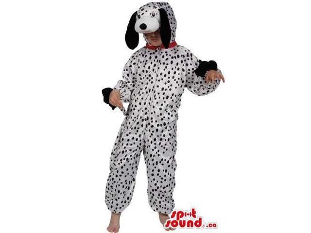White And Black Dalmatian Dog Plush Children Size Costume