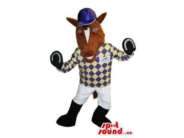 Customised Brown Horse Canadian SpotSound Mascot Dressed In Horse Rider Clothes