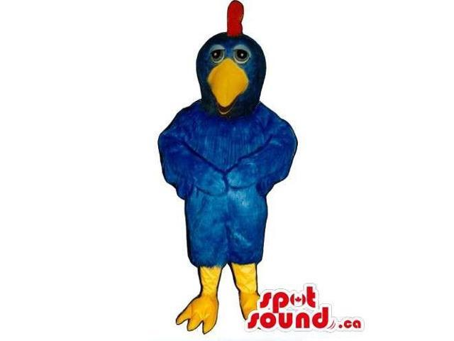 Blue Bird Canadian SpotSound Mascot With Yellow Legs, Beak And A Red Comb