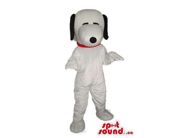 Snoopy Dog Animal Cartoon Character Canadian SpotSound Mascot With Closed Eyes