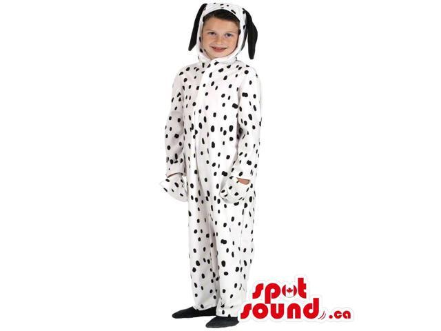 White And Black Dalmatian Dog Plush Toddler Size Costume