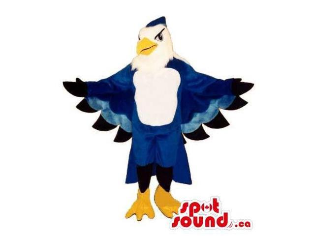 Blue And White Customised Bird Canadian SpotSound Mascot With Large Wings