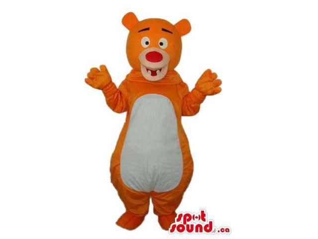 Cute Orange And White Fairy-Tale Bear Plush Canadian SpotSound Mascot With A Red Nose