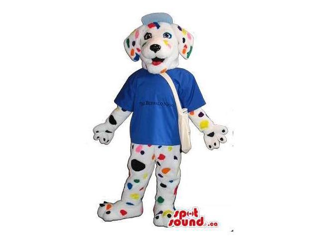 Dalmatian Dog Plush Canadian SpotSound Mascot With A Blue T-Shirt