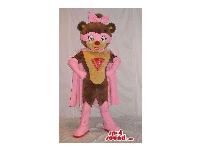 Cute Superhero Teddy Bear Girl Plush Canadian SpotSound Mascot With A Logo